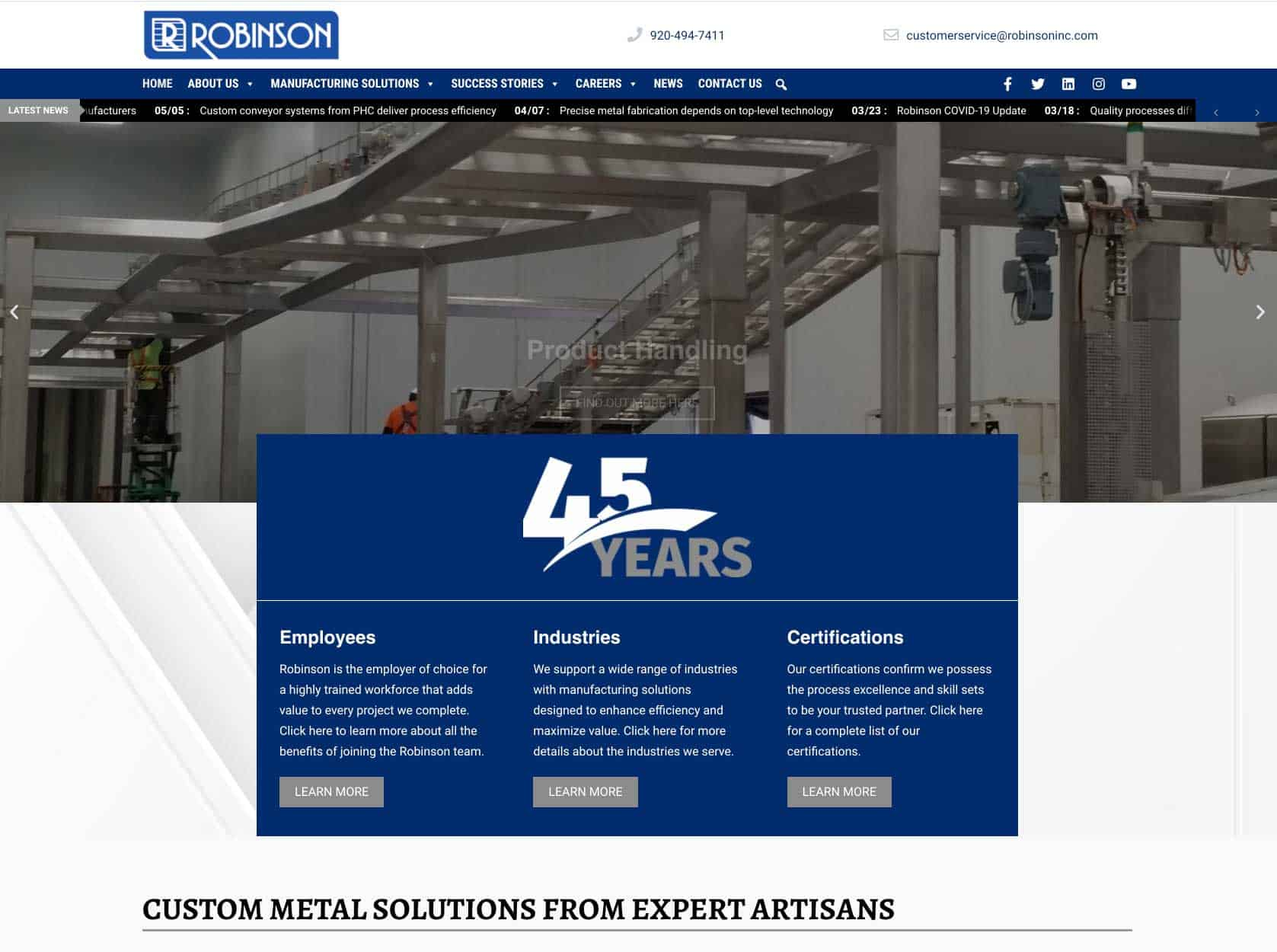 Robinson updates website to reflect single-source solutions